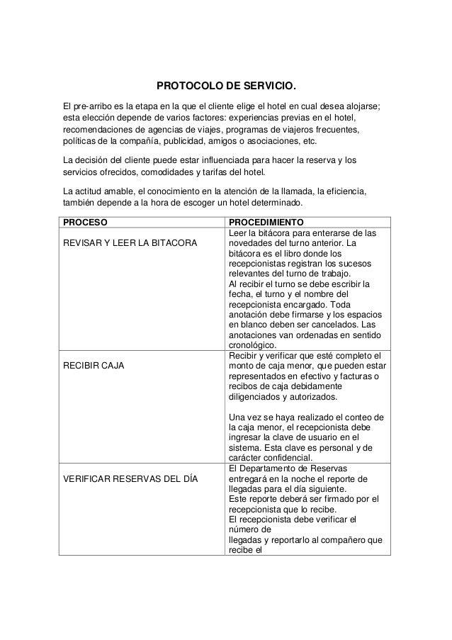 Protocolo de servicio oscar for Tipos de servicios de un hotel