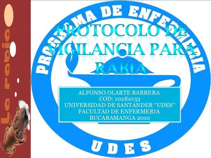 """ALFONSO OLARTE BARRERA         COD: 10281033UNIVERSIDAD DE SANTANDER """"UDES""""    FACULTAD DE ENFERMERIA       BUCARAMANGA 2010"""
