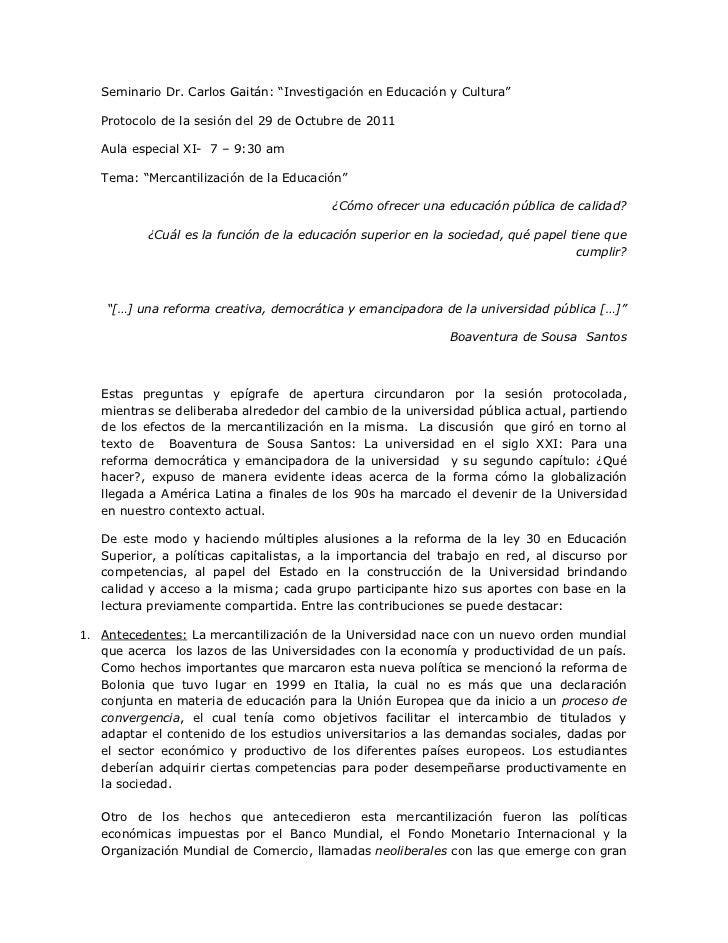 """Seminario Dr. Carlos Gaitán: """"Investigación en Educación y Cultura""""   Protocolo de la sesión del 29 de Octubre de 2011   A..."""