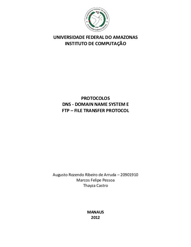 UNIVERSIDADE FEDERAL DO AMAZONAS INSTITUTO DE COMPUTAÇÃO  PROTOCOLOS DNS - DOMAIN NAME SYSTEM E FTP – FILE TRANSFER PROTOC...