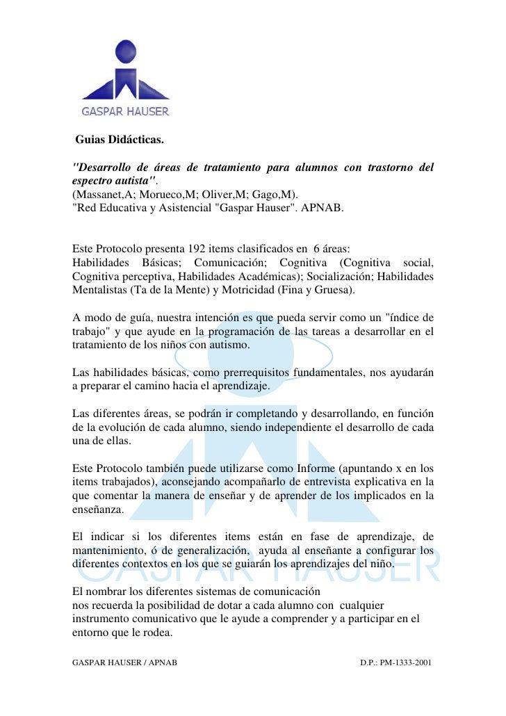 """Guias Didácticas.""""Desarrollo de áreas de tratamiento para alumnos con trastorno delespectro autista"""".(Massanet,A; Morueco,..."""