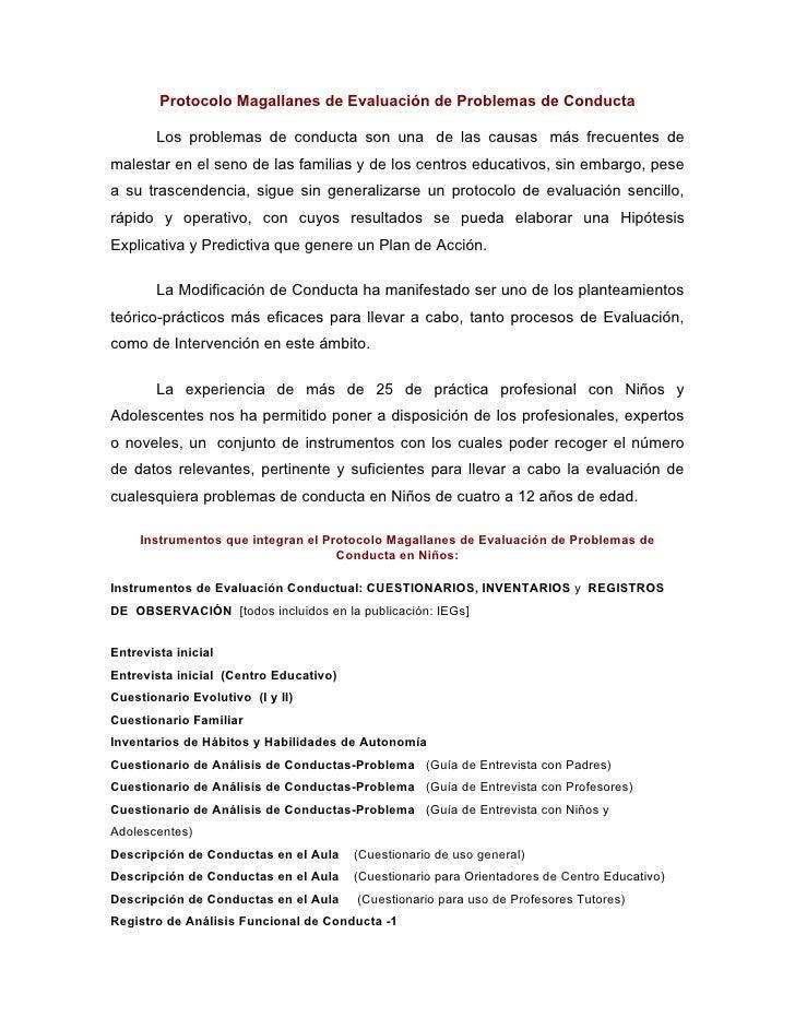 Protocolo Magallanes de Evaluación de Problemas de Conducta          Los problemas de conducta son una de las causas más f...