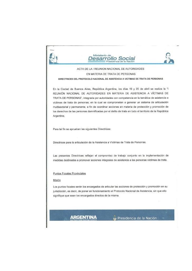 Protocolo Nacional de Asistencia a la Victima de Trata de Personas