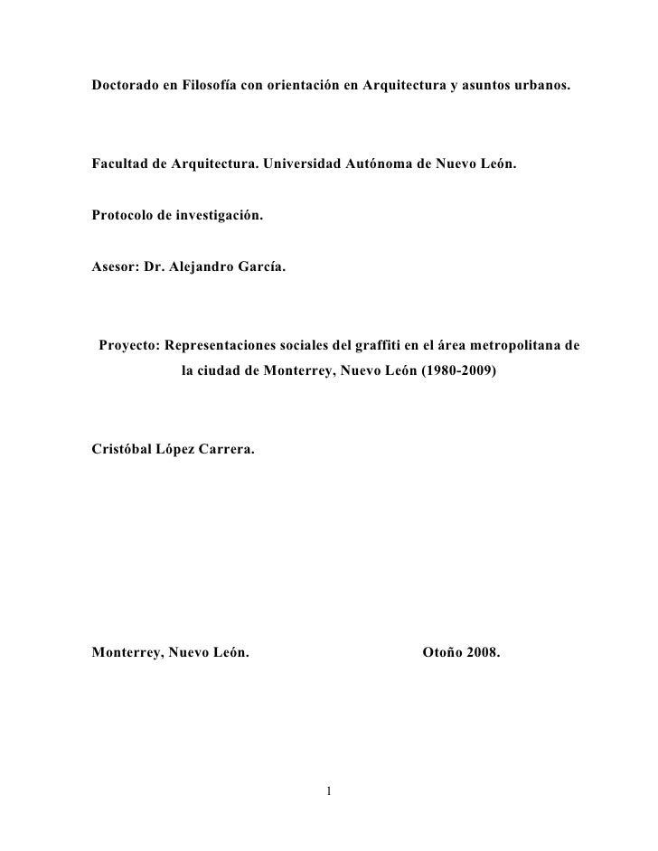 Doctorado en Filosofía con orientación en Arquitectura y asuntos urbanos.     Facultad de Arquitectura. Universidad Autóno...