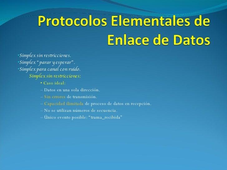 Protocolos Elementales de Enlace de Datos