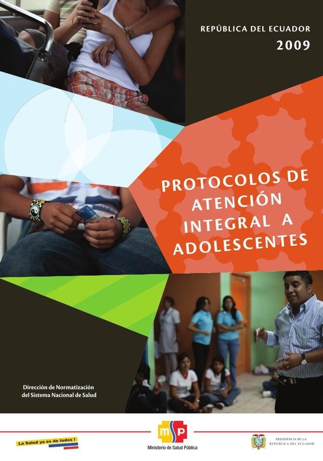Protocolos atención integral adolescentes Ecuador