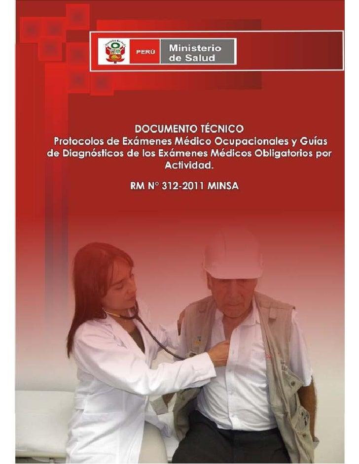 Protocolos de examenes medico ocupacionales y guias de for Ministerio de salud peru