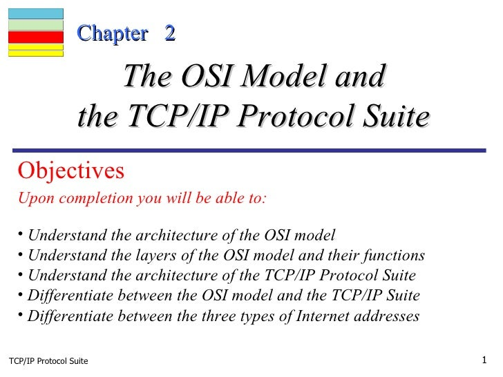 TCP/IP Protocol Suite Chapter  2 Upon completion you will be able to: The OSI Model and the TCP/IP Protocol Suite <ul><li>...