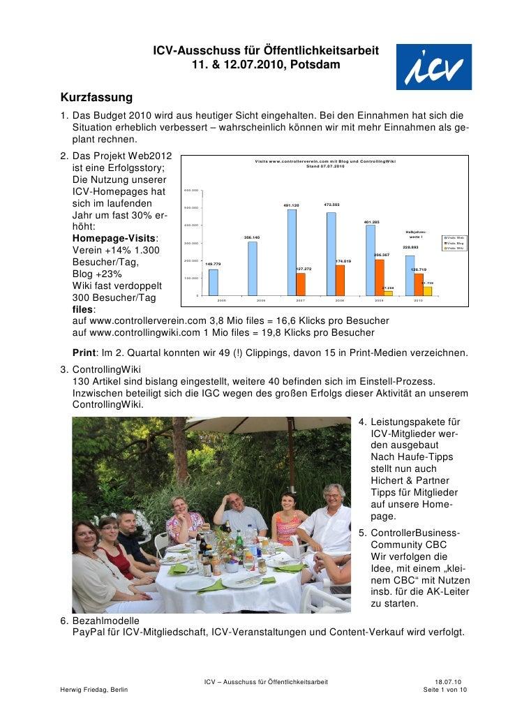 ICV-Ausschuss für Öffentlichkeitsarbeit                                11. & 12.07.2010, Potsdam  Kurzfassung 1. Das Budge...