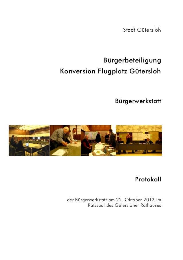Stadt Gütersloh                  BürgerbeteiligungKonversion Flugplatz Gütersloh                       Bürgerwerkstatt    ...