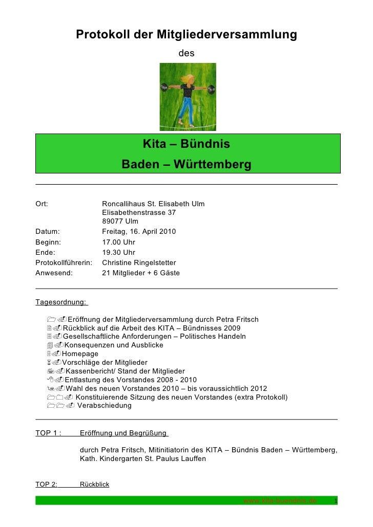 Protokoll der Mitgliederversammlung                                            des                                     Kit...