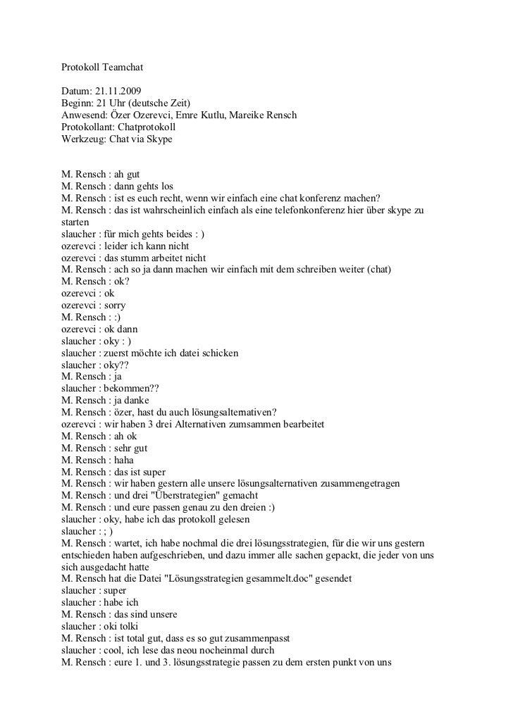 Protokoll Teamchat 21.11.09