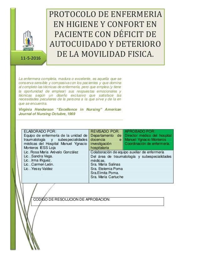Baño General Del Paciente Encamado:PROTOCOLO DE ENFERMERIA EN HIGIENE Y CONFORT EN PACIENTE CON DÉFICIT