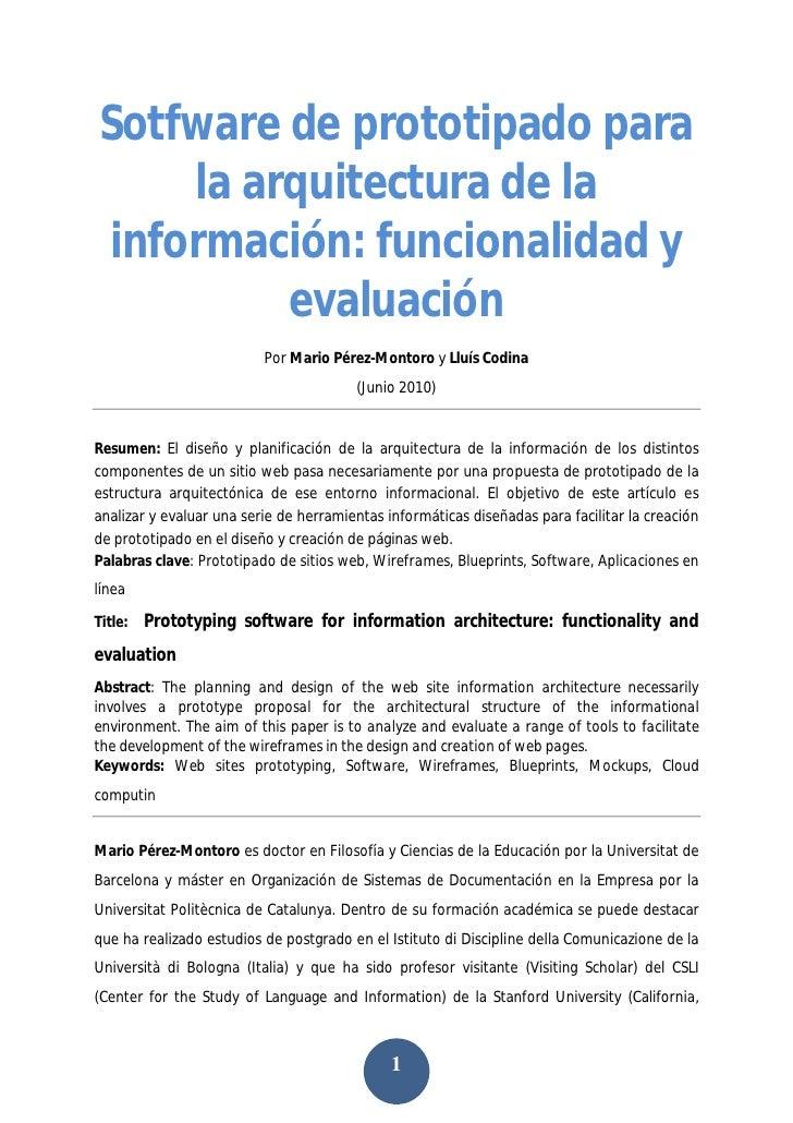 Sotfware de prototipado para la arquitectura de la información: funcionalidad y  evaluación