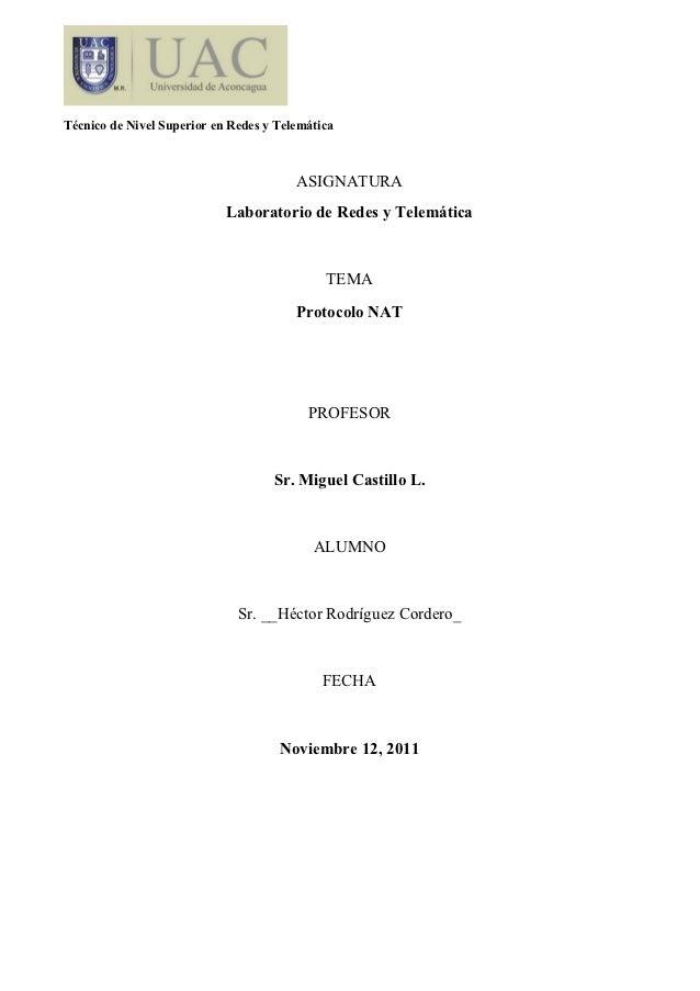 Técnico de Nivel Superior en Redes y Telemática                                        ASIGNATURA                         ...