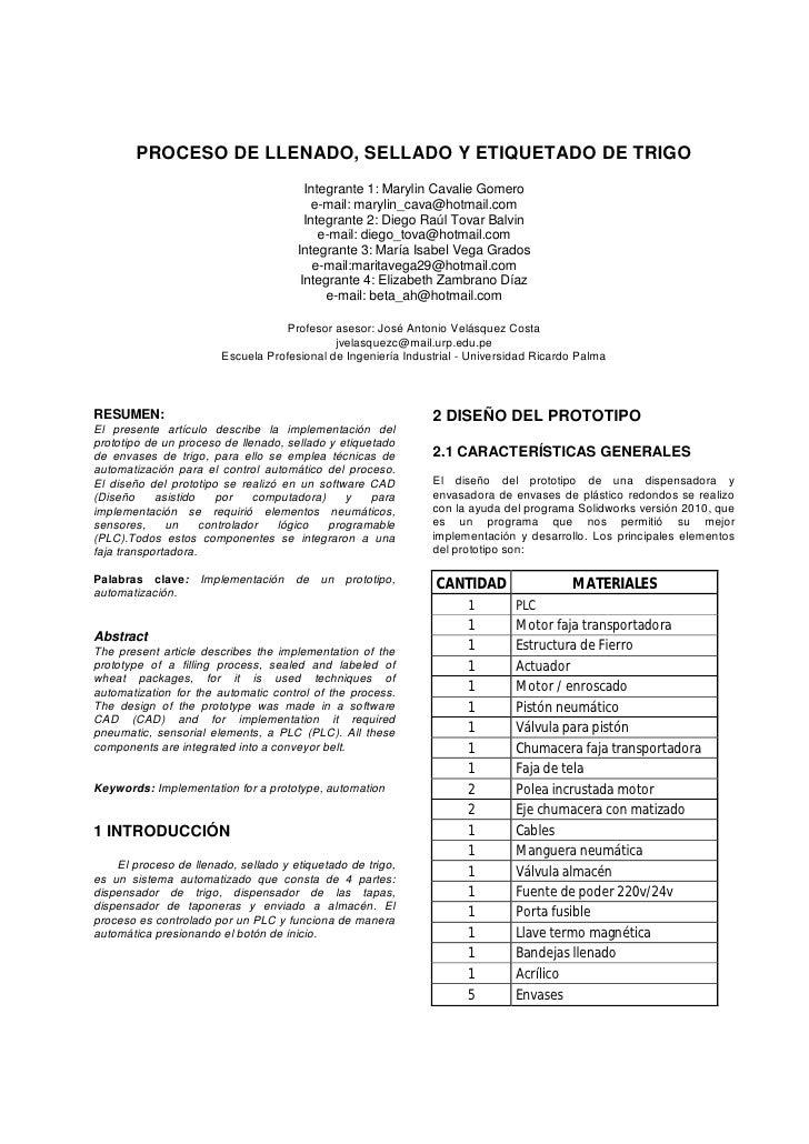 PROCESO DE LLENADO, SELLADO Y ETIQUETADO DE TRIGO                                        Integrante 1: Marylin Cavalie Gom...