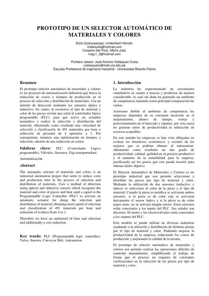 PROTOTIPO DE UN SELECTOR AUTOMÁTICO DE                    MATERIALES Y COLORES                                       Solís...