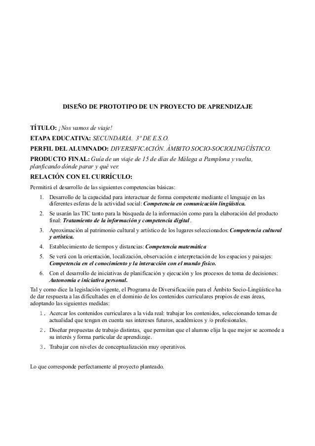 DISEÑO DE PROTOTIPO DE UN PROYECTO DE APRENDIZAJE TÍTULO: ¡Nos vamos de viaje! ETAPA EDUCATIVA: SECUNDARIA. 3º DE E.S.O. P...