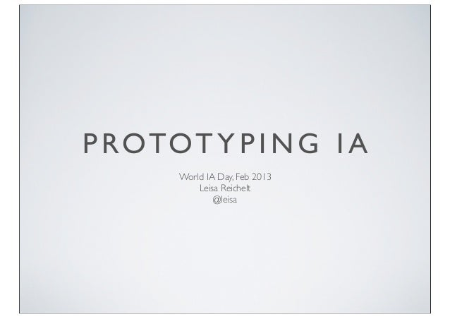 Prototyping Information Architecture