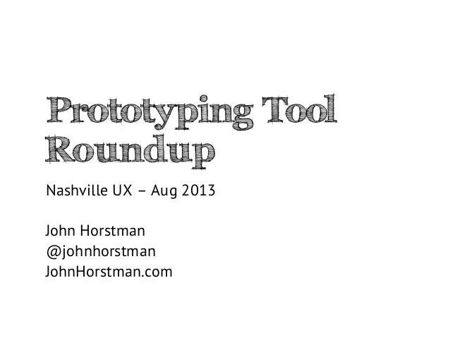 Prototyping tool roundup - Nashville UX, Aug 2014