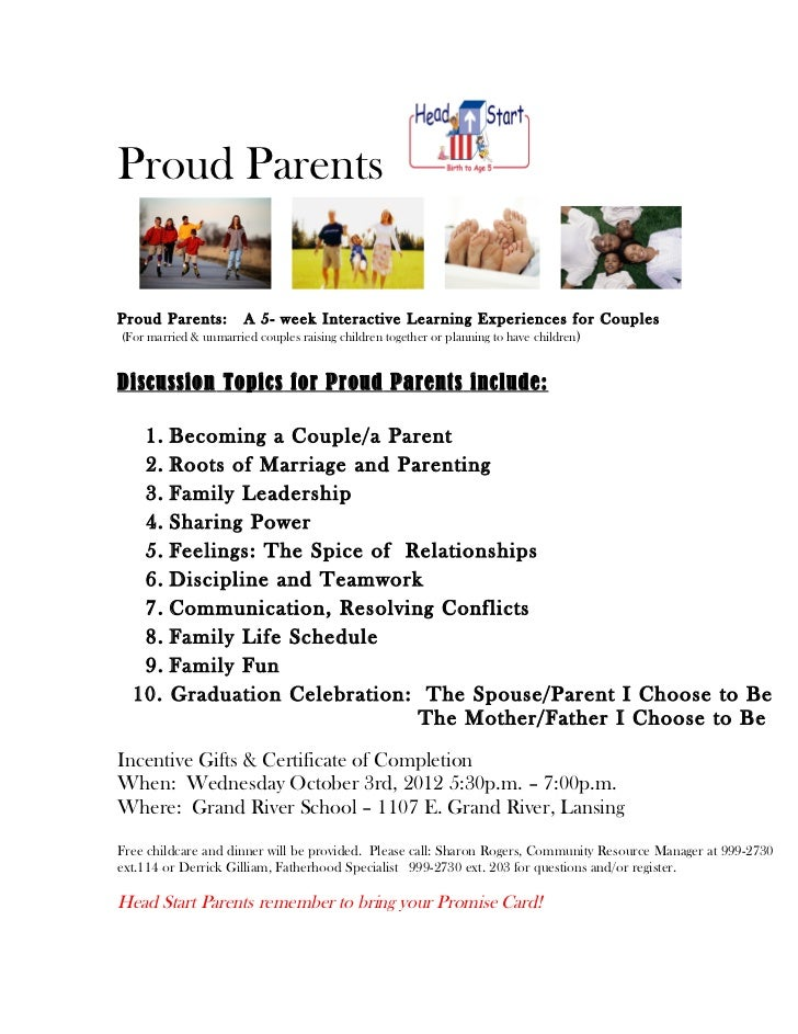 Proud ParentsProud Parents:         A 5- week Interactive Learning Experiences for Couples(For married & unmarried couples...