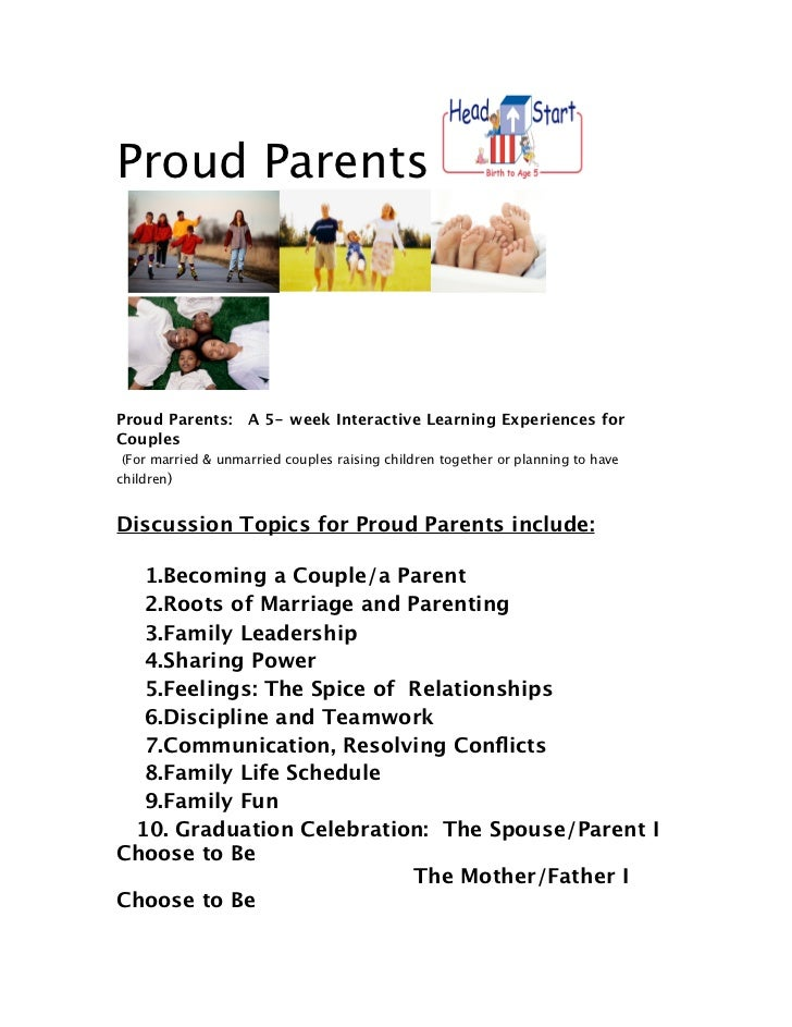 Proud Parents Proud Parents: A 5- week Interactive Learning Experiences forCouples (For married & unmarried couples raisin...