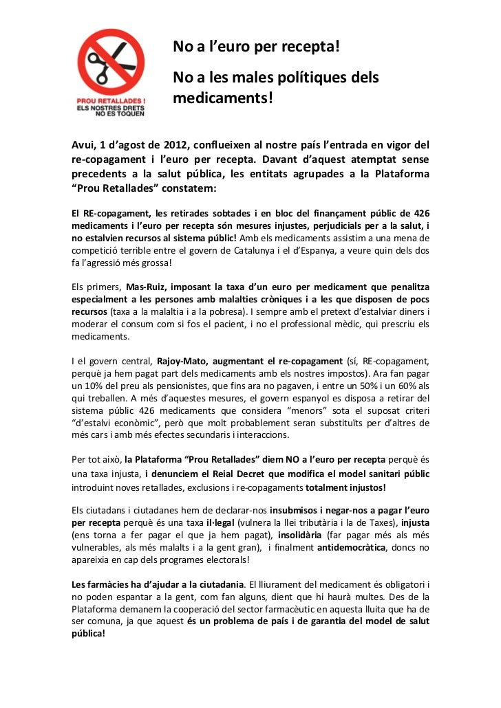 Manifest en contra de l'euro per recepta i el copagament