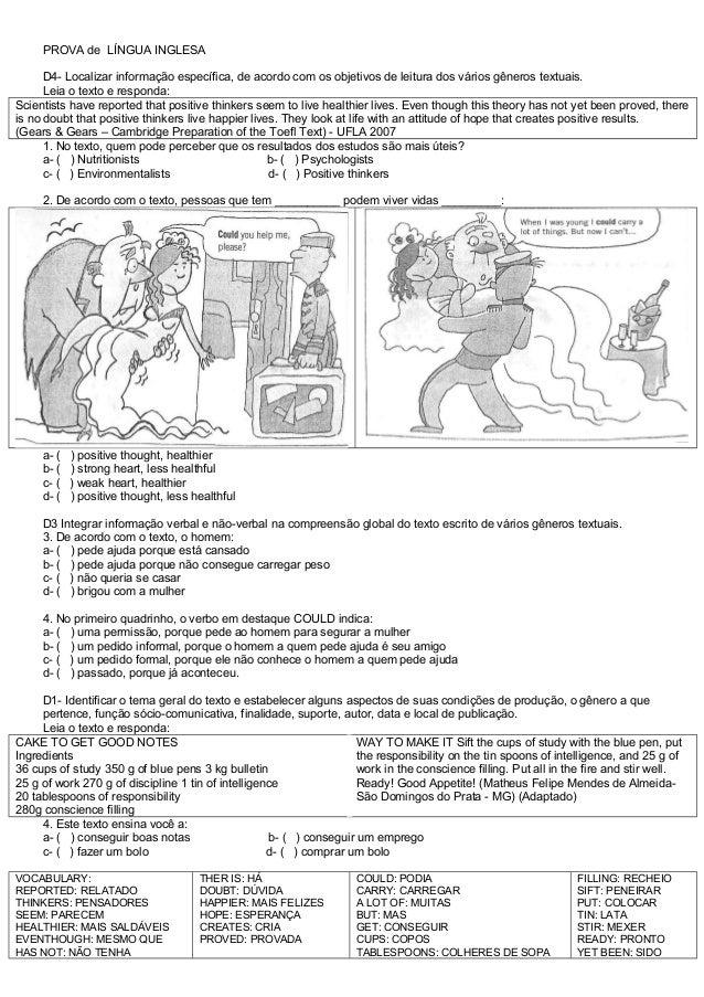 Well-known ATIVIDADES DIVERSAS CLÁUDIA: Prova de Inglês com descritores 2 SC84