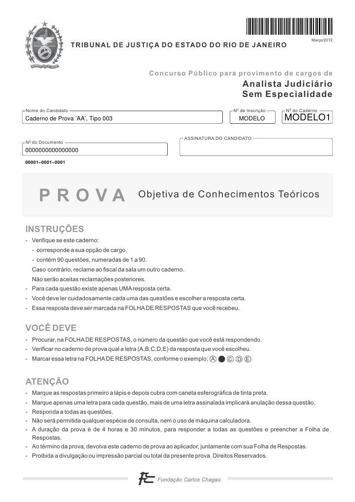 Prova tipo003 Analista Judiciário TJ-RJ 2012