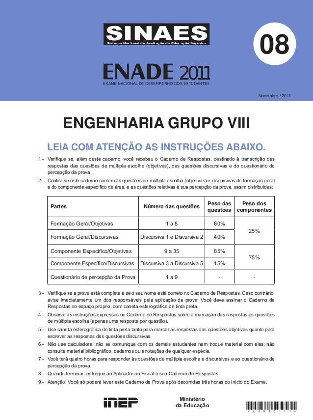 Prova   enade-engenharia-2011- grupo-viii