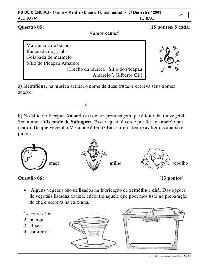 atividades alfabetizacao jardim horta pomarProvapbciencias1ano