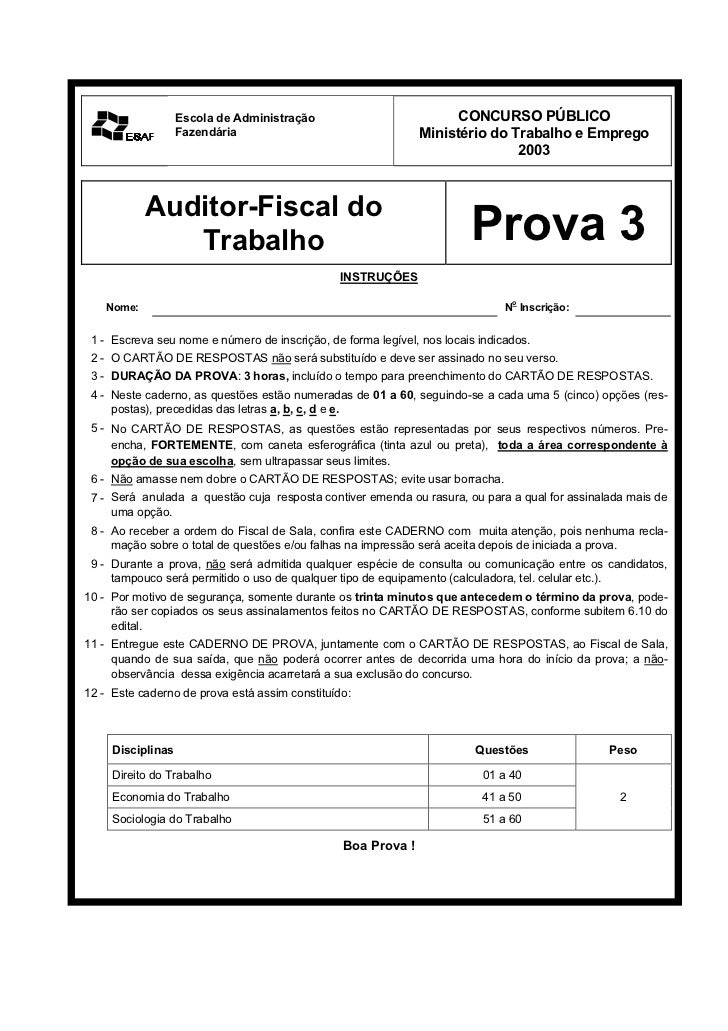 Prova03 2003