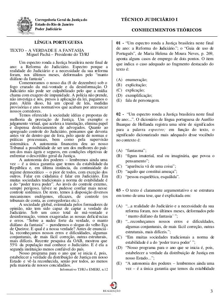 Corregedoria Geral da Justiça do                        TÉCNICO JUDICIÁRIO I               Estado do Rio de Janeiro       ...