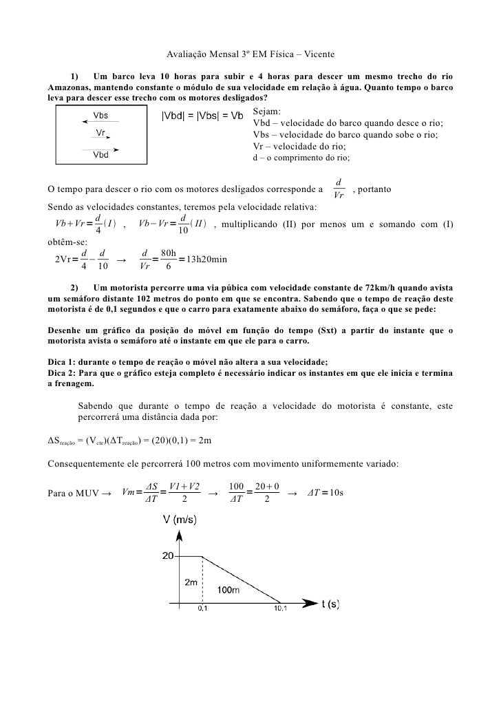 1ª Prova Mensal 3º EM - Vicente