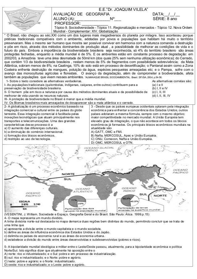 Prova de Geografia 3 Ano 3 Bimestre Prova 4 Bimestre Geografia 8