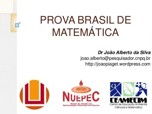 PROVA BRASIL DE MATEMÁTICA Dr João Alberto da Silva joao.alberto@pesquisador.cnpq.br http://joaopiaget.wordpress.com