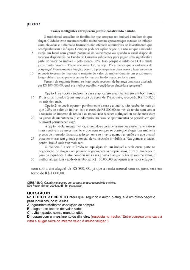 CERBASI, G. Casais inteligentes enriquecem juntos: construindo o ninho.São Paulo: Gente, 2004. p. 55-56. (Adaptado).QUESTÃ...
