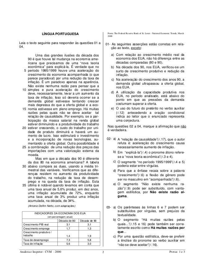 Analista e Inspetor - CVM - 2000 Provas 1 e 32 LÍNGUA PORTUGUESA Leia o texto seguinte para responder às questões 01 a 04....