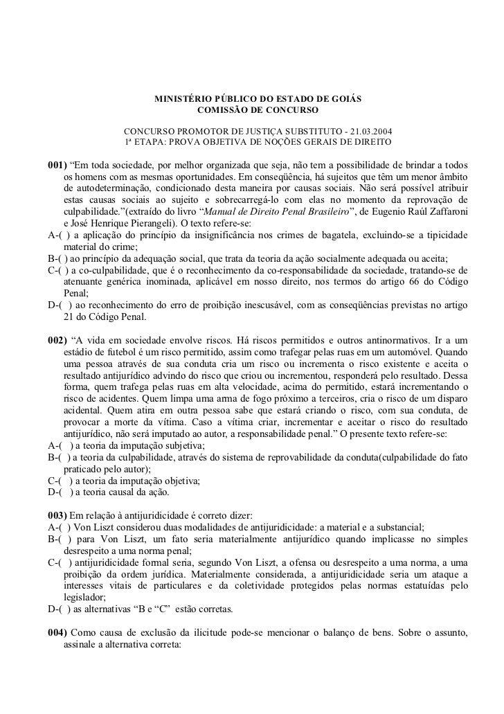 MINISTÉRIO PÚBLICO DO ESTADO DE GOIÁS                                 COMISSÃO DE CONCURSO                  CONCURSO PROMO...