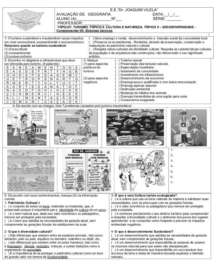 """E.E.""""Dr. JOAQUIM VILELA""""                                      AVALIAÇÂO DE GEOGRAFIA                         DATA:__/__/__..."""