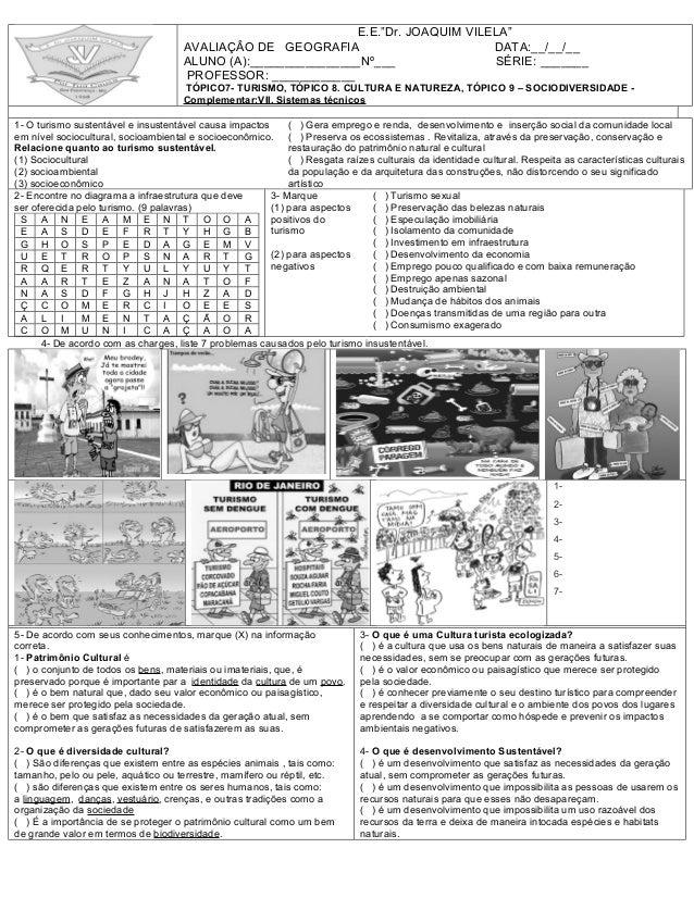 Prova de Geografia 3 Ano 3 Bimestre Prova de Geografia 4 Bimestre