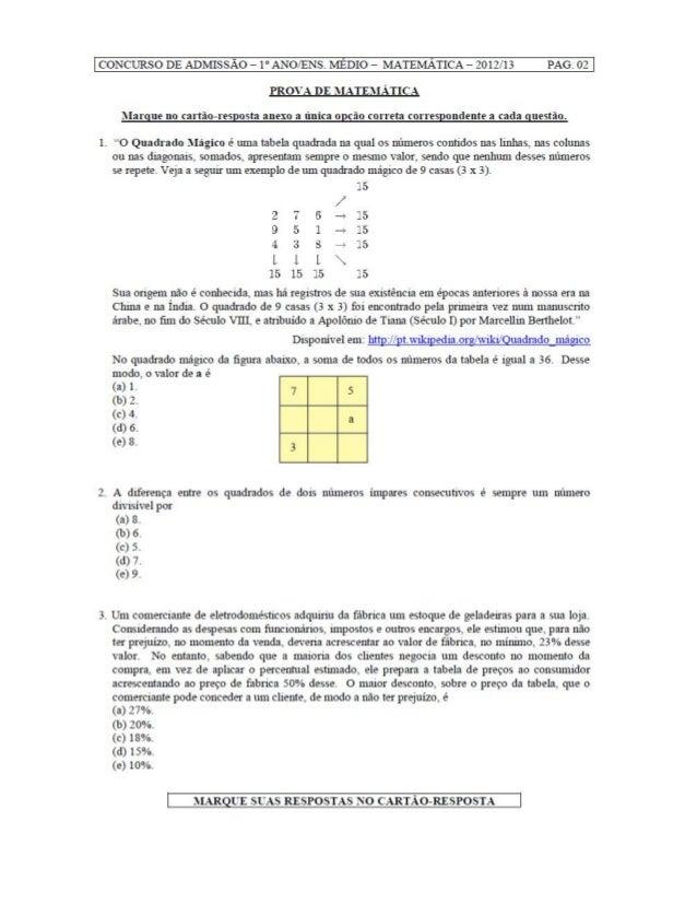 Prova de matemática Colégio Militar 2012   9ºano
