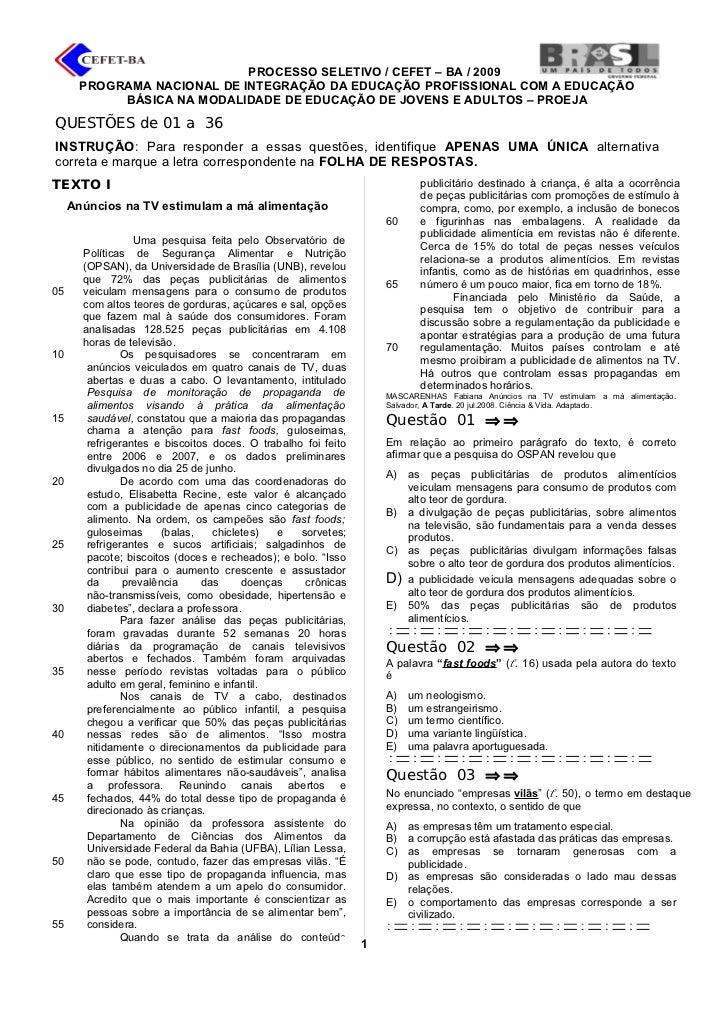 PROCESSO SELETIVO / CEFET – BA / 2009        PROGRAMA NACIONAL DE INTEGRAÇÃO DA EDUCAÇÃO PROFISSIONAL COM A EDUCAÇÃO      ...