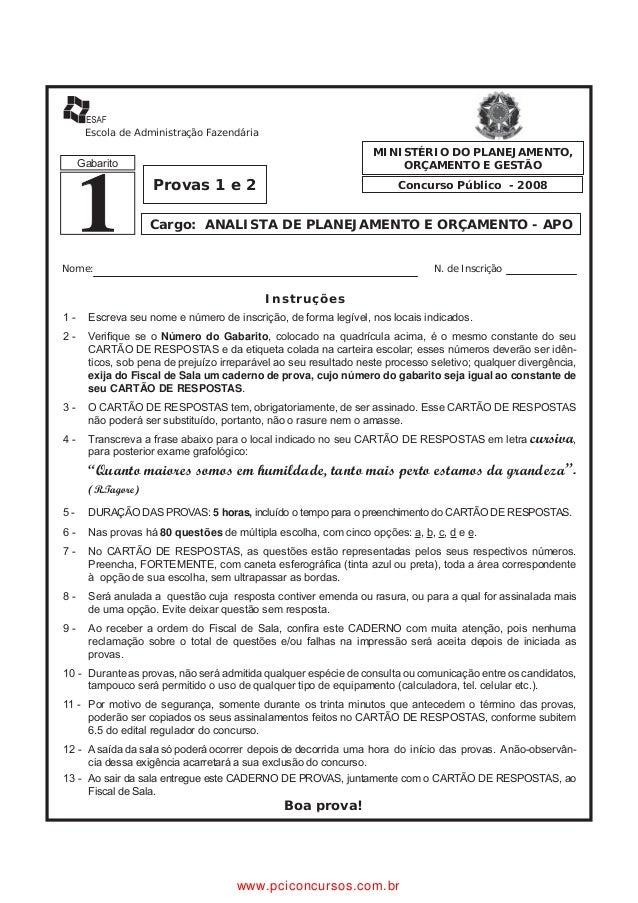 Escola de Administração Fazendária                                                                   MINISTÉRIO DO PLANEJA...
