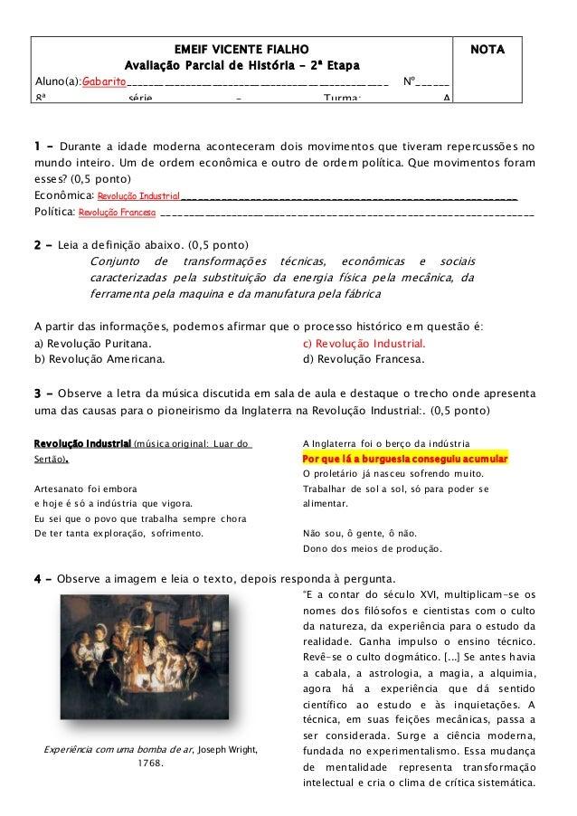Prova Parcial 8serie A 2 Etapa Emei Vicente Fialho Gabarito