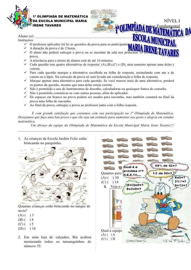 1ª OLIMPÍADA DE MATEMÁTICA          DA ESCOLA MUNICIPAL MARIA                                                         NÍVE...