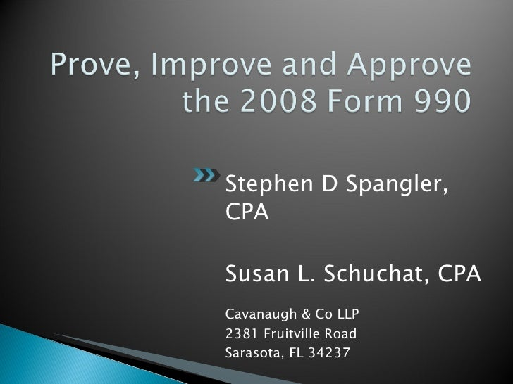 Prove, Improve And Approve The 2008 Form #2 2003