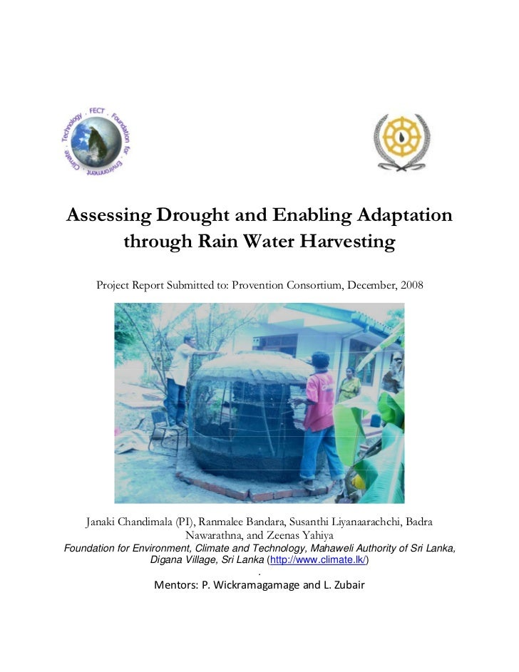 Assessing Drought and Enabling Adaptation through Rain Water Harvesting