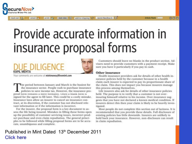 SecureNow Published in Mint Dated  13 th  December 2011 Click here