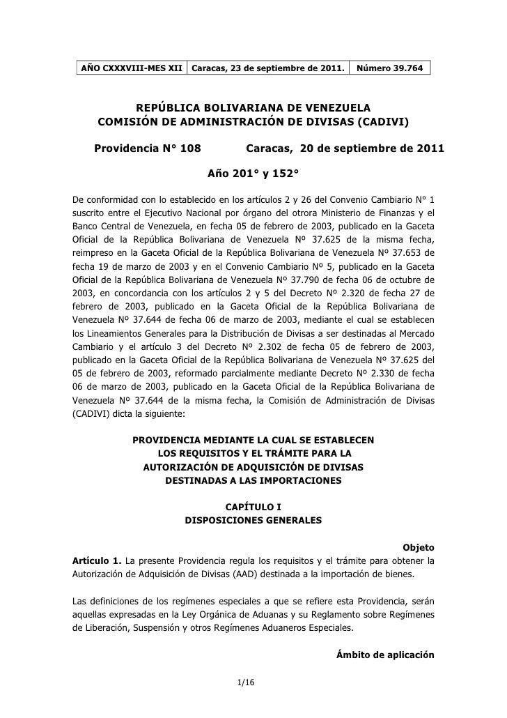 Providencia nº 108 de cadivi. importaciones